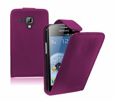 PURPLE Leather Flip Case Cover Pouch for Samsung Galaxy S Duos 2 GT-S7582