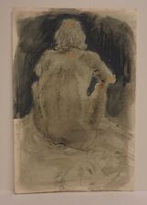 Lois Davis Male Nude Model Watercolor Mixed Media Listed Indiana Artist 15 x 10