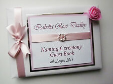 BABY GIRLS CHRISTENING/ NAMING DAY GUEST BOOK WITH ROSE - ANY COLOUR