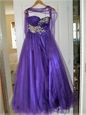 Stunning Gino Cerruti  Prom Dress Size XS UK 6-8 In Purple Worn For 3 Hours Only