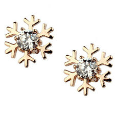 Cute kids snowflake rose gold christmas gift stud earrings jewellery UK seller