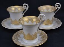 Set of 3 T&V Limoges Double Fancy Gold Set of 3 Chocolate Cups Saucers