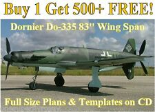 "Dornier Do335 83"" WS Giant Scale RC Airplane Plans&Templates on CD in PDF Format"