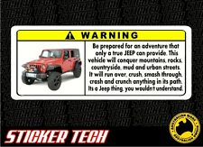 WARNING EXTREME JEEP STICKER DECAL SUITS JK TJ CJ WRANGLER RENEGADE CHEROKEE