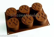 6 cell LARGE PAW Paws Dog Silicone Bakeware Mould Cake Mold Jelly Chocolate Pan