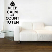 Keep Calm & Count To Ten Decal Vinyl Wall Sticker Art Home Sayings Popular