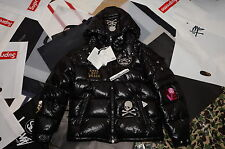 BRAND NEW JAPAN MASTERMIND X MONCLER GLOSSY PATCHES BLACK DOWN JACKET SZ 3 M/L