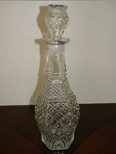 Vtg Liquor Decanter Bottle Mad Men Style Studded Cut Diamond Clear Glass Stopper