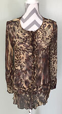 CABI Womens 100% Silk Cat Animal Print Sheer Tunic Blouse Top Shirt Size S EUC