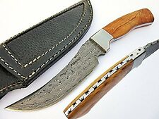 Bravest Fixed Blade Hunting Knife Damascus Steel Blade Olive Wood Handle AT-1804