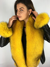 Fox Fur Stole - Boa. 63' Inch. Yellow Color. Wristbands as Tails. Natural Lining