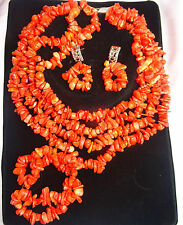 Orange Red Chips Sales Traditional African Beads Wedding Party Jewelry Set