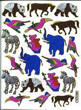 Stickers scrapbooking métallisés Animaux sauvages 13 cm x 10 cm bord dorés