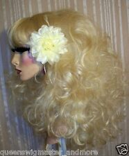 Drag Queen Wig Big Teased Out Long Curls Pale Bleached Blonde Heavy Bangs