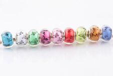10p Mix butterfly SILVER MURANO bead LAMPWORK fit European Charm Bracelet HH908