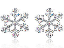 Mini Aurora Borealis Crystal Elements Winter Snowflake Button Earrings