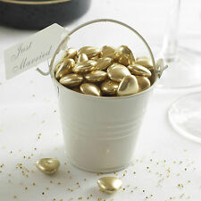 5 IVORY PLAIN TIN FAVOUR PAILS Buckets Sugared Almonds Sweets T Lights Chocs
