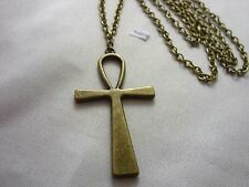 "A Large Bronze Style Egyptian Ankh Cross Charm, Long ( 30"" ) Chain Necklace"