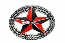 New Men of Steel Red Star Metal Silver Belt Buckle