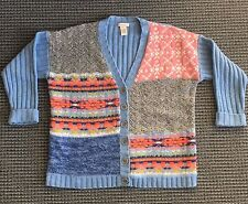 Sundance Catalog Purely Patchwork Cardigan Sweater Womens Size Small M Blue