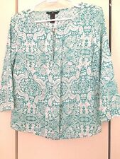 H&M LADIES 3/4 SLEEVE GREEN WHITE PRINT SILKY SOFT TOP/ BLOUSE SZ 6, EUC