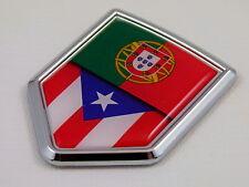 Portugal / Puerto Rico Flag Car Chrome Emblem Decal Sticker