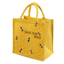 BEE YELLOW JUTE SHOPPING BAG SAVE OUR BEES fair trade eco shopper NEW!