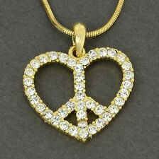 Heart Peace W Swarovski Crystal Gold Plated Necklace Love Pendant Gift