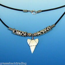 "A ""Great"" White Tip Shark Tooth Necklace Hawaiian Surfers Large Sharks Teeth"