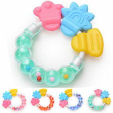 Baby Infant Kid Rattles Biting Teething Teether Toys Circle Ring Trendy Useful