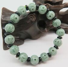 Natural Grade A Jade (jadeite) 10mm Oil-Green Coin Round Bead Bracelet Good Luck