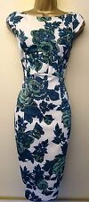 KAREN MILLEN GREEN AND CREAM FLORAL STRETCH WIGGLE PENCIL PARTY DRESS SIZE 10