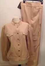 ST JOHN SPORT Women's 2pc Pants Suit Sz XL Tan Pant And Jacket New With Tag