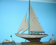 "Wooden Ship Model- Deep Shoal Blue Water YACHT  20"" Tall- Loaded with Details!"