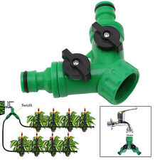 Garden 2-Way Adapter Y Tap Connector Fitting Switch Irrigation Hose Pipe G3 / 4""