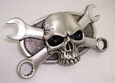 Ford V8 Flathead Mechanic Combination Wrench Skull Belt Buckle Hot Rod Rat Rod