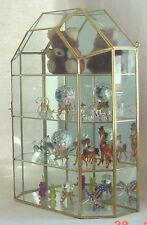 New Medium Large Cathedral Top GLASS & BRASS CURIO CABINET. Horizontal shelves