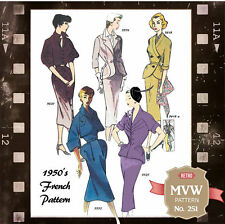 1950s Wiggle Suits Vintage French Sewing Pattern