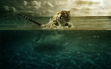 Framed Print - Tiger Jumping through the Sea (Picture Poster Hunting Animal Art)