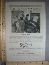 Rare Original VTG Fahys Monarch Everett Piano World's Fair Advertising Art Print