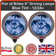 "Pair of Britax 9"" driving spot lamps/lights Blue lens 12/24v off road 4x4 truck"