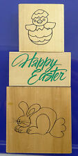 LOT OF 3 EASTER RUBBER STAMPS ~ Chick in Egg, Happy Easter, Bunny Rabbit