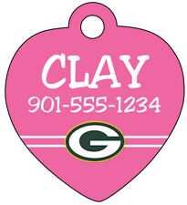 NFL Team Pink Dog Tag Cat Tag Pet ID Tag Personalized w/ Your Pet's Name, Number
