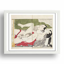 "Embracing Couple, Graphic Erotic ukiyo-e  Japanese Shunga, 12x9"" White Frame"