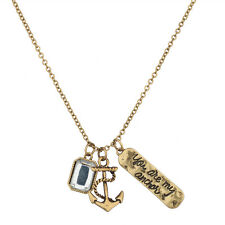 Lux Goldtone  Clear Jewel You Are My Anchor Tag Necklace
