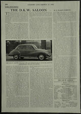 The DKW Saloon Review Specification Road Test 1958 1 Page Photo Article