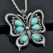 fashion woman charm turquoise butterfly pendant necklace gift XL377