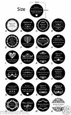 100 x Personalised Wedding Bomboniere Envelope Just Black Sticker Seal Labels