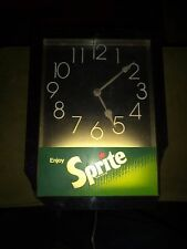 Vintage Sprite Pop Soda Plastic Lighted Wall Clock Advertising Sign WORKS