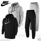 Nike Mens Fleece Lined Tracksuit Jumper Hooded Top Joggers Pants Black Grey
